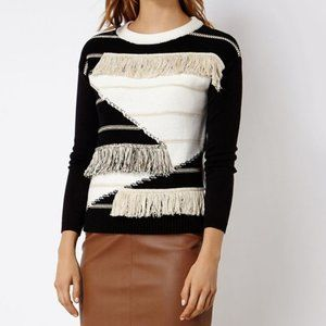 KAREN MILLEN Black & Cream Fringed Sweater